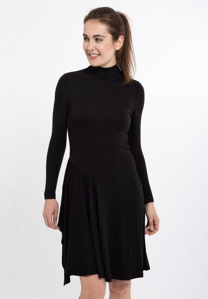 Mexx Jerseykleid mit hohem Kragen in schwarz