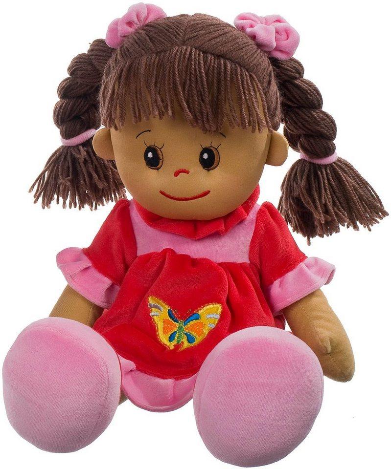 Heunec Stoffpuppe, rot, »Poupetta Lucy mit braunem Haar 50 cm« in rot