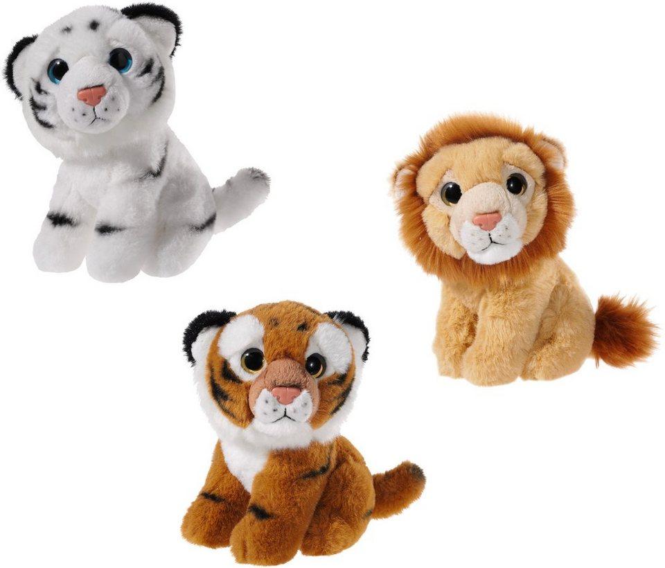 Heunec Set bestehend aus 3 Plüschtieren Panda Bär Tiger und Löwe, »Mini Mi Dschungel«