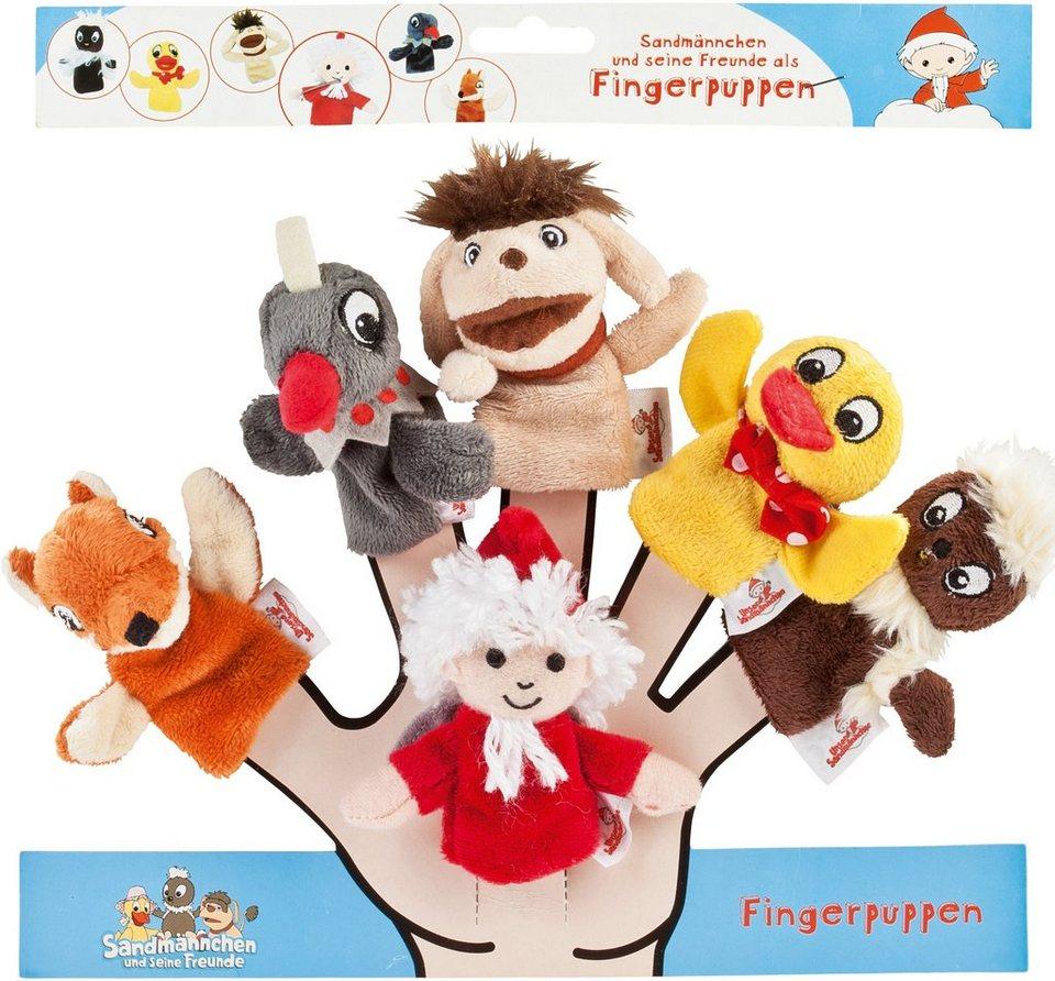 Heunec Plüschset, Sandmännchen, Hund, Kobold, Fuchs, Elster, Ente , »Sandmann Fingerpuppen 6er-Set«
