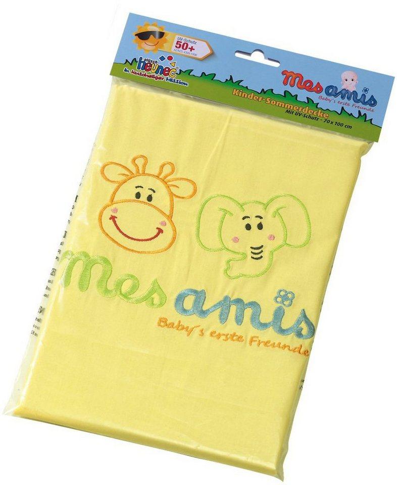 Heunec Kinder Sommerdecke mit Aufdruck, »Mes Amis Sonnenschutzdecke UV-Schutz 50+« in gelb