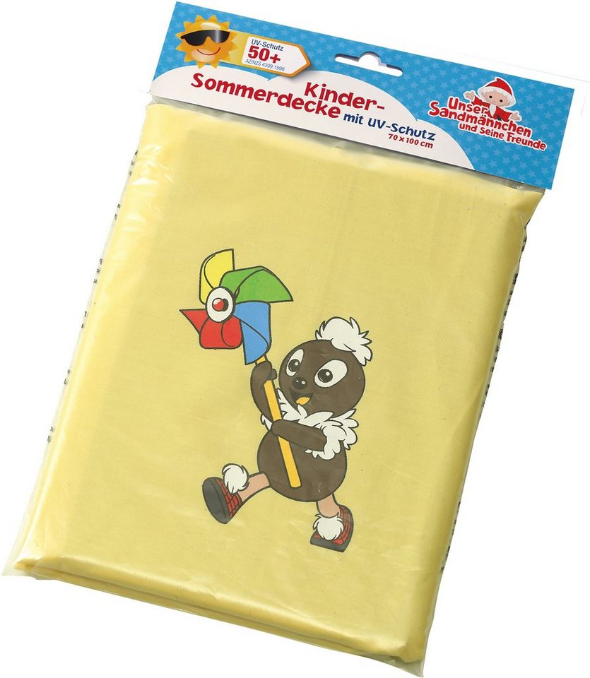 Heunec Kinder Sommerdecke mit Pittiplatsch Motiv, »Sandmann Sonnenschutzdecke UV Schutz 50+« in gelb