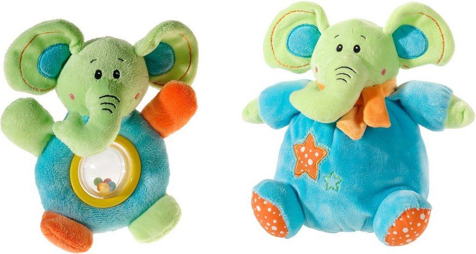Heunec Set bestehend aus Plüschelefant und Rassel, »Mes Amis, Klang Set Elefant« in hellblau