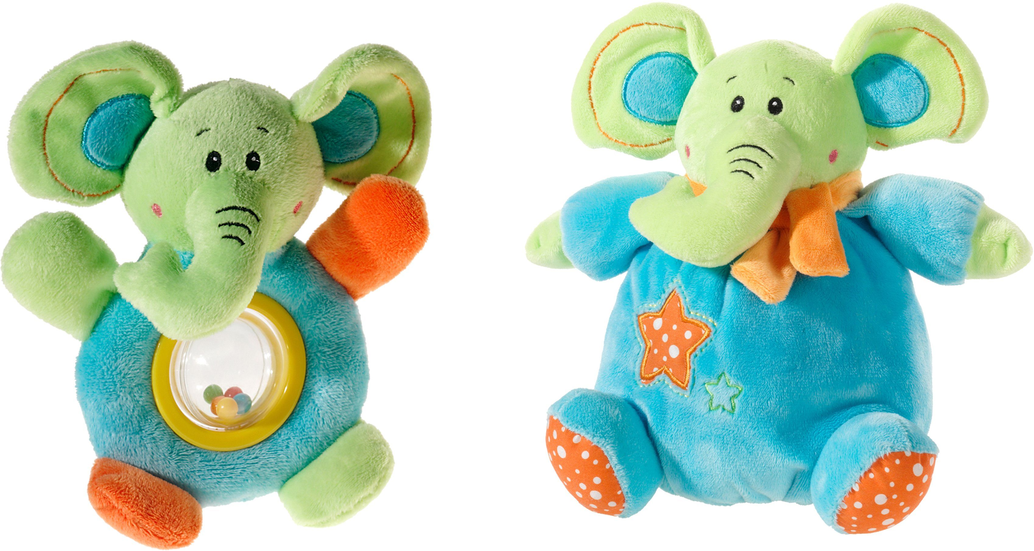 Heunec Set bestehend aus Plüschelefant und Rassel, »Mes Amis, Klang Set Elefant«