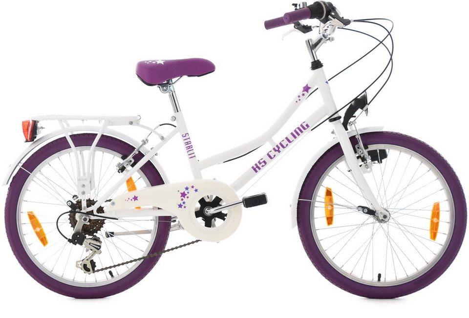 KS Cycling Jugendfahrrad, 20 Zoll, 6 Gang Shimano Kettenschaltung, »Starlit« in weiß-lila