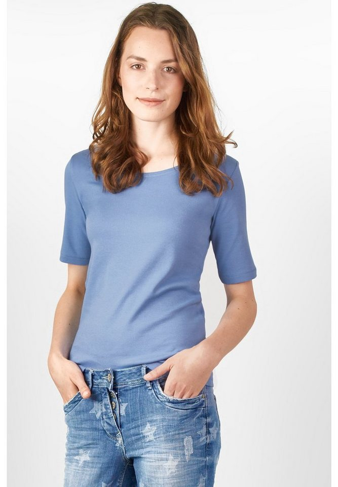 CECIL Basic-Halbarmshirt Lena in cornflower blue