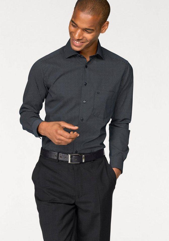 Olymp Businesshemd »Luxor, modern fit« Mit extra langem Ärmel und Minimaloptik in schwarz