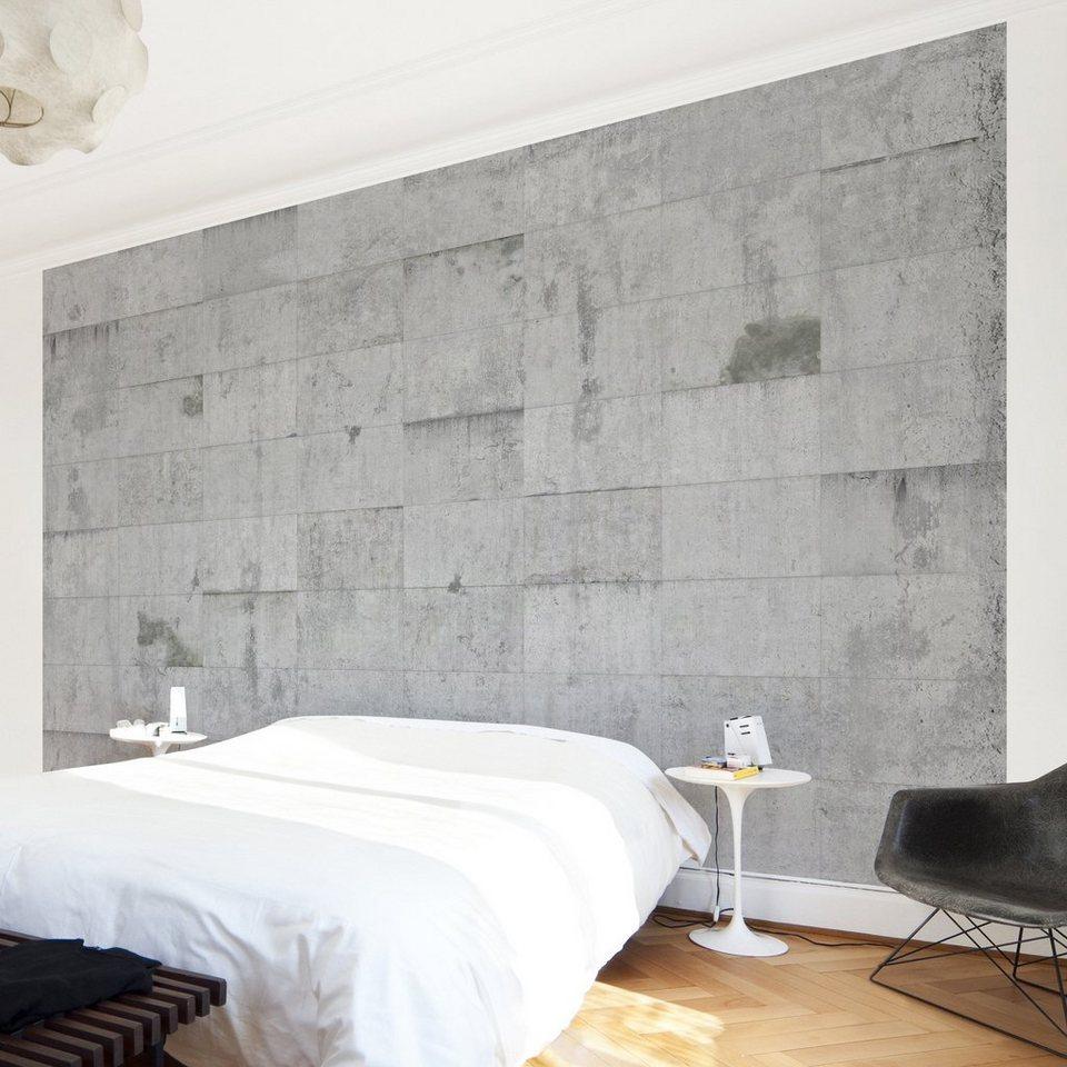 Bilderwelten Vliestapete Premium Breit »Beton Ziegeloptik« in Grau