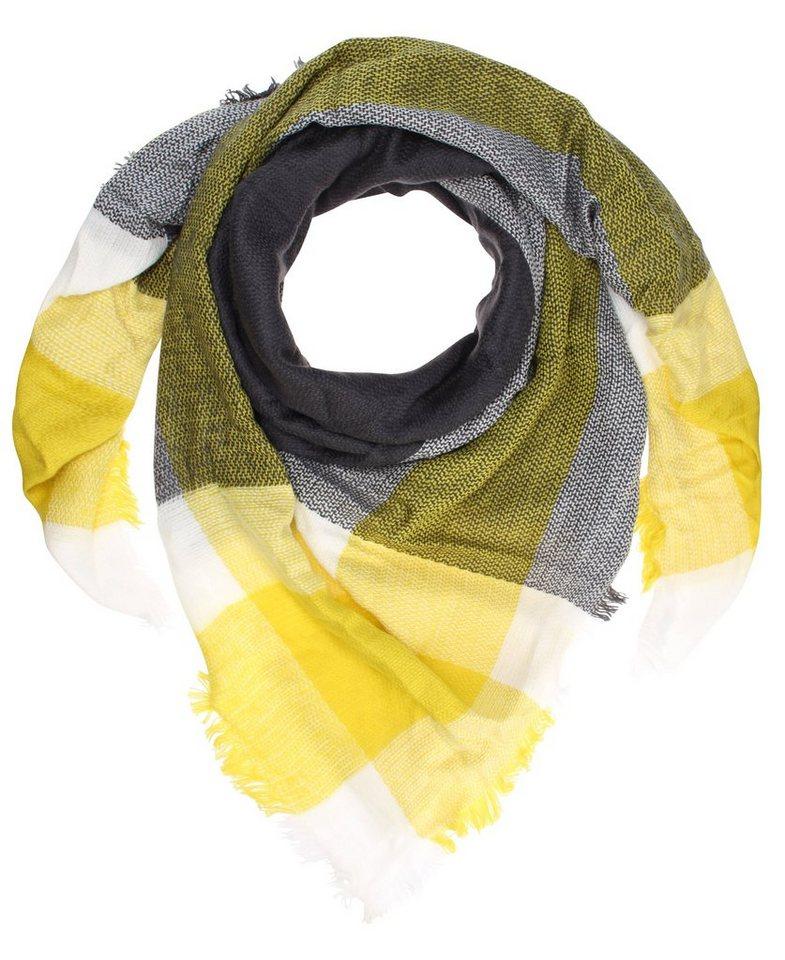 myMO Tuch in grau/weiss/gelb