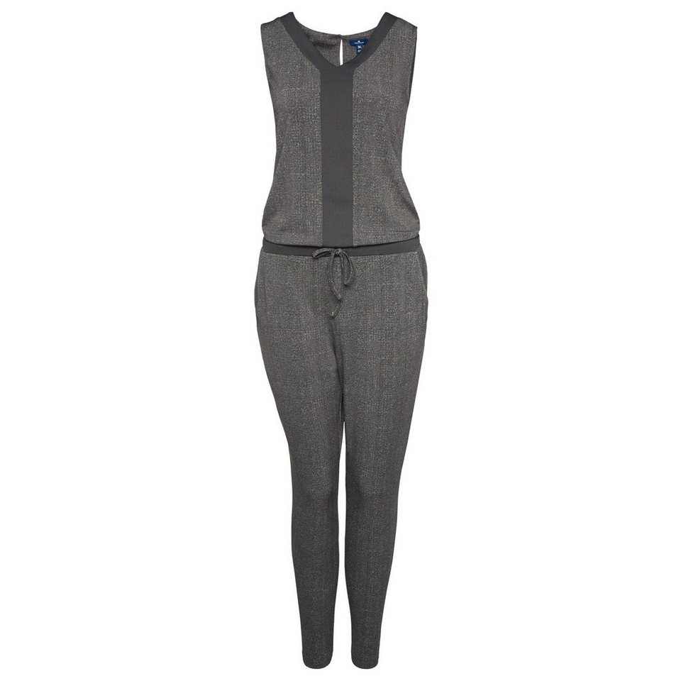TOM TAILOR Kleid »bequemer Jumpsuit mit Muster« in Coal Grey