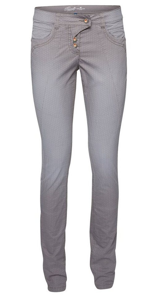 TOM TAILOR Hose »Hose mit Crinkles und Allover-Print« in smoked pearl grey