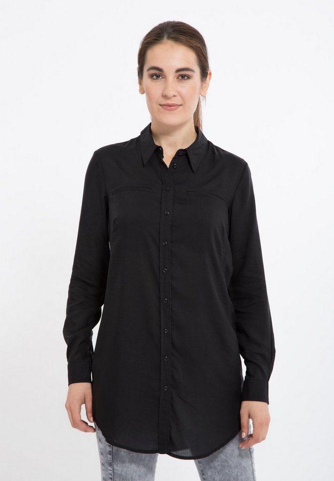 Mexx Hemdbluse mit 2 Brusttaschen in schwarz