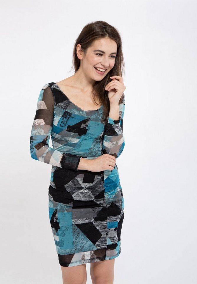 Mexx Sommerkleid in slim fit mit Allover Print in schwarz