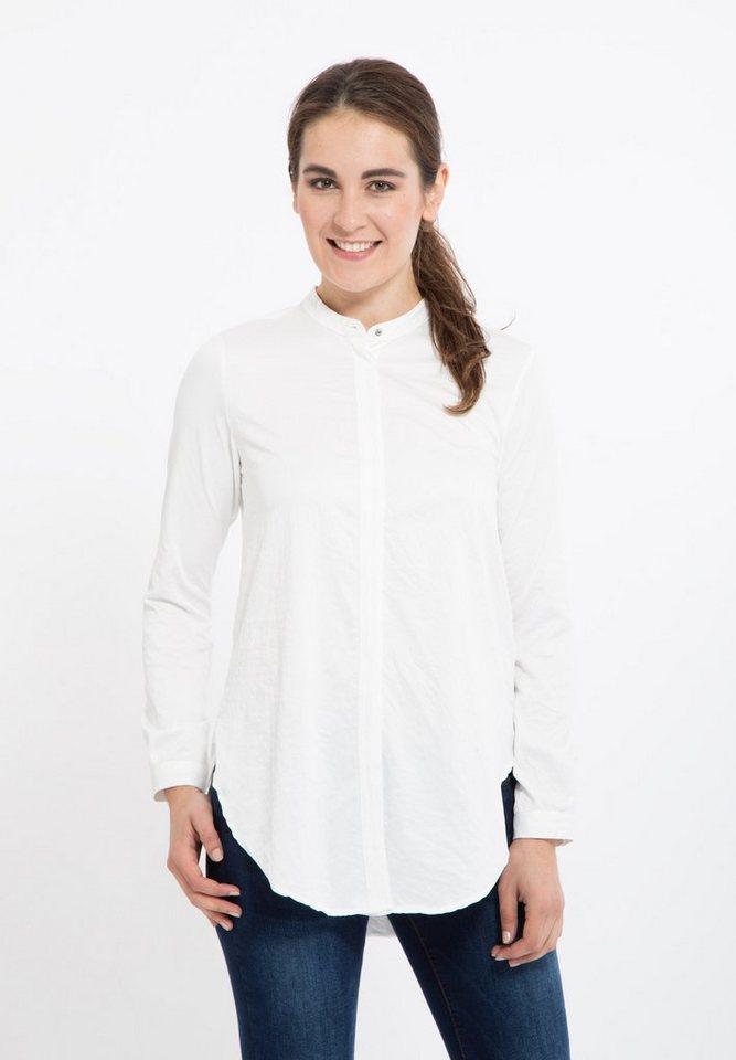 Mexx Longbluse in A-Shape ohne Kragen in weiß