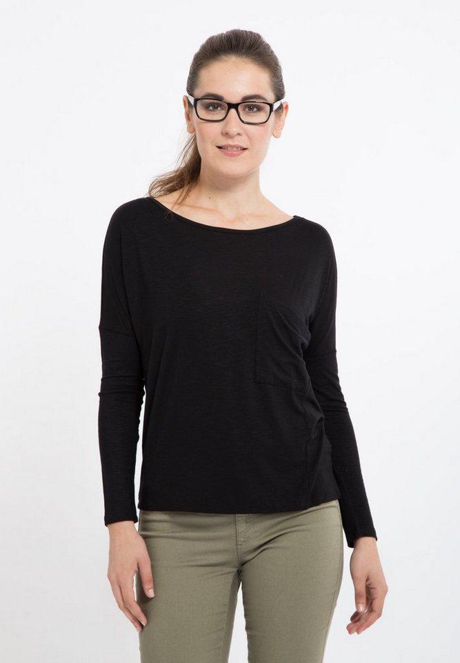 Mexx Langarmshirt mit raffinierter Brusttasche in schwarz