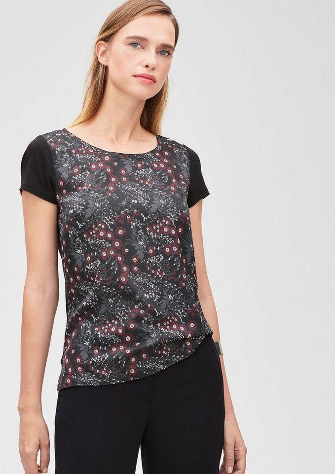 s.Oliver BLACK LABEL Blusenshirt mit Blumen-Print in grey/black AOP