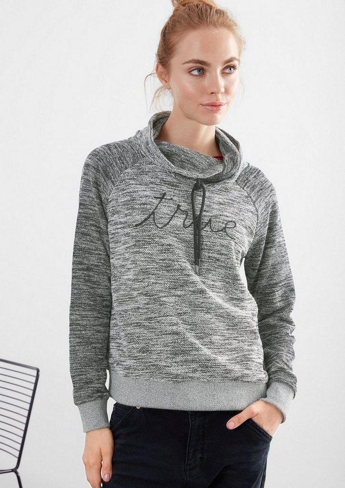Q/S designed by Sweatshirt in Strick-Optik in black melange