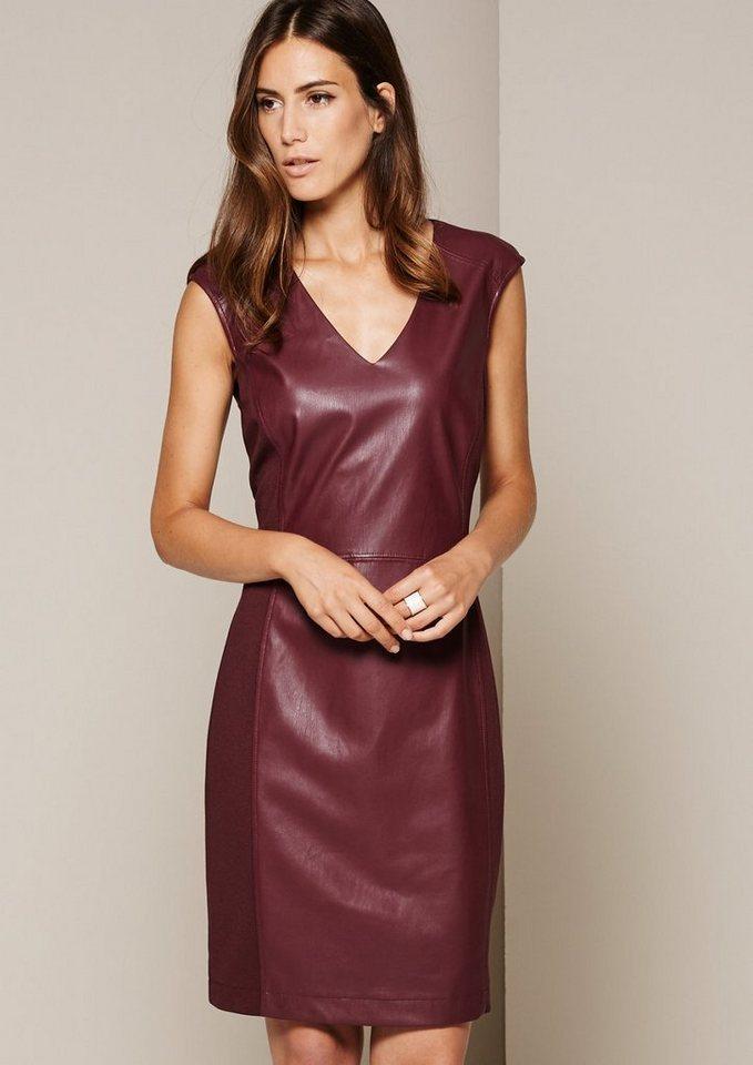 COMMA Glamouröses Kleid im aufregenden Materialmix in cranberry