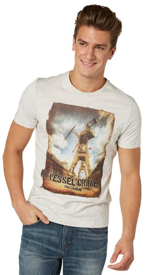 TOM TAILOR T-Shirt »T-Shirt mit Foto-Print im Used-Look« in offwhite melange