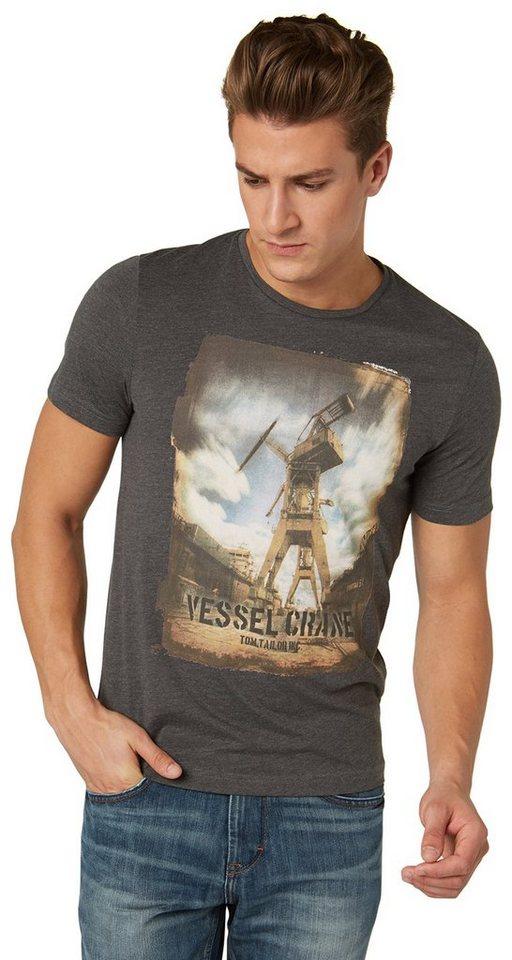 TOM TAILOR T-Shirt »T-Shirt mit Foto-Print im Used-Look« in dark grey melange