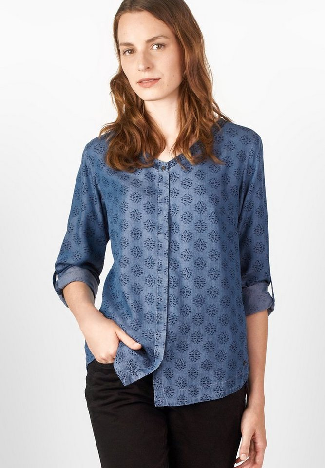 CECIL Denimstyle-Printbluse in mid blue wash