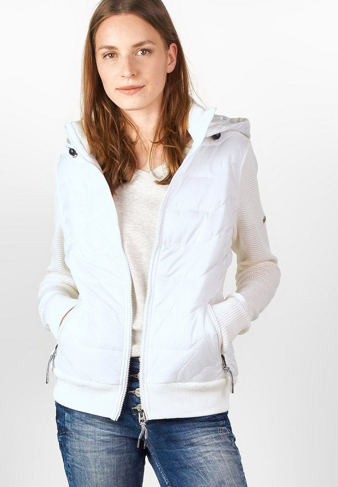 CECIL Hoody-Steppjacke mit Strick in pure off white