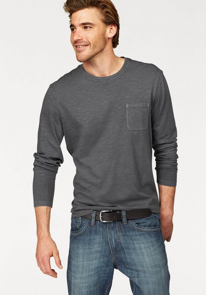 Marc O'Polo Langarmshirt Slub Yarn Optik in graphit-meliert