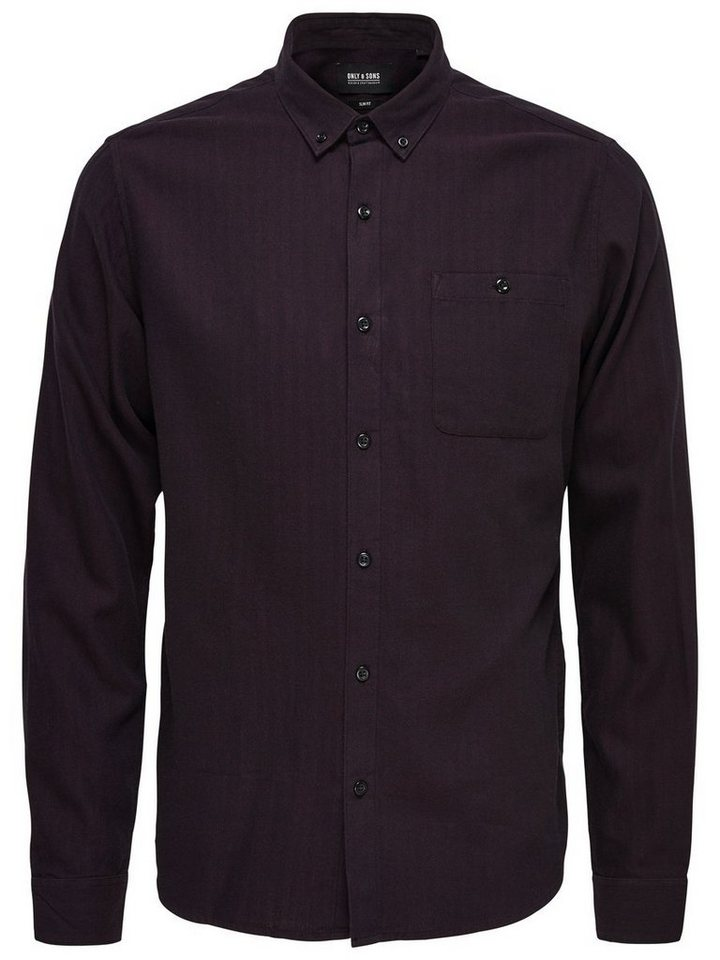 ONLY & SONS Einfarbiges Langarmhemd in Black
