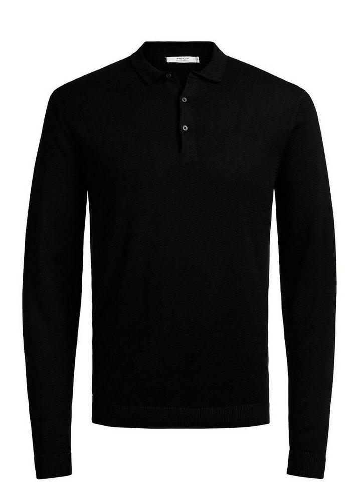 Jack & Jones Langärmeliges Strick- Poloshirt in Black