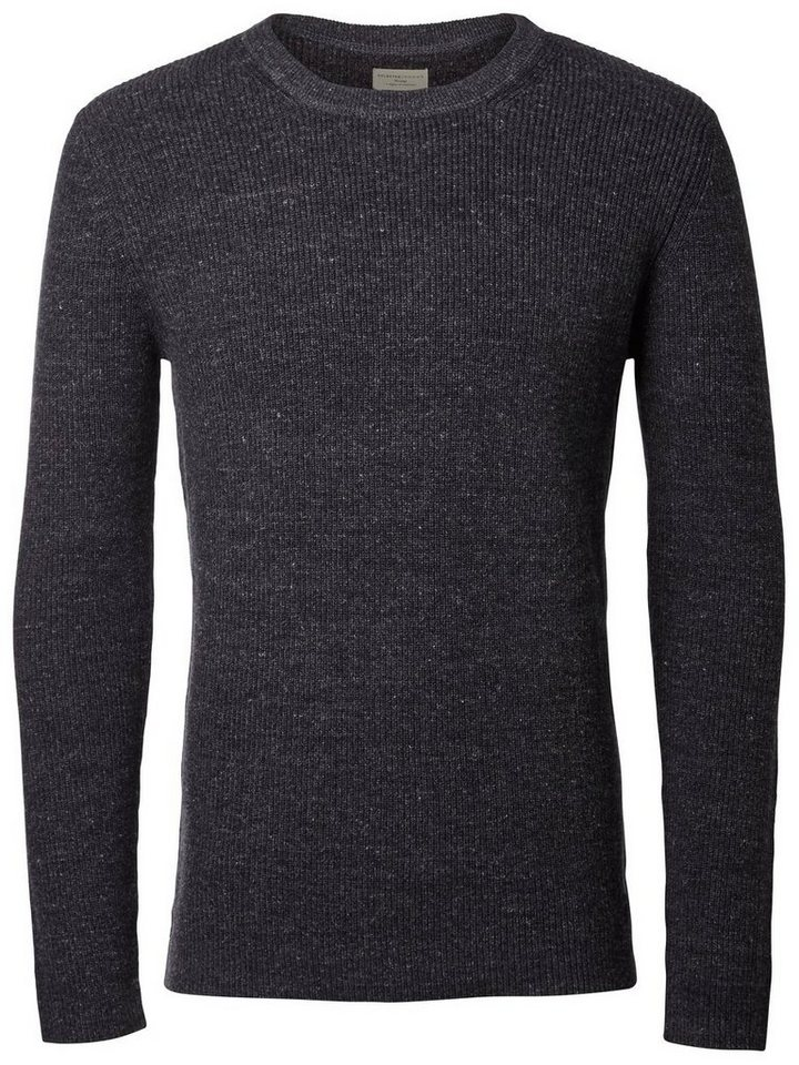 Selected Crew-Neck- Strickpullover in Medium Grey Melange