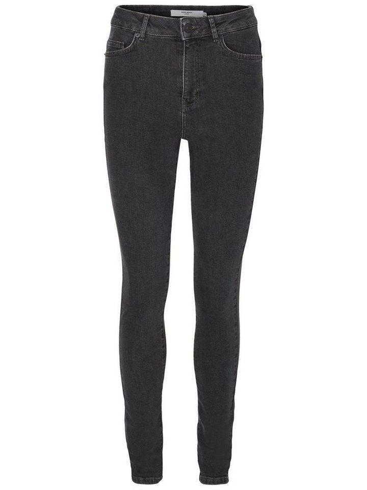 Vero Moda Nine HW Skinny Fit Jeans in Dark Grey Denim