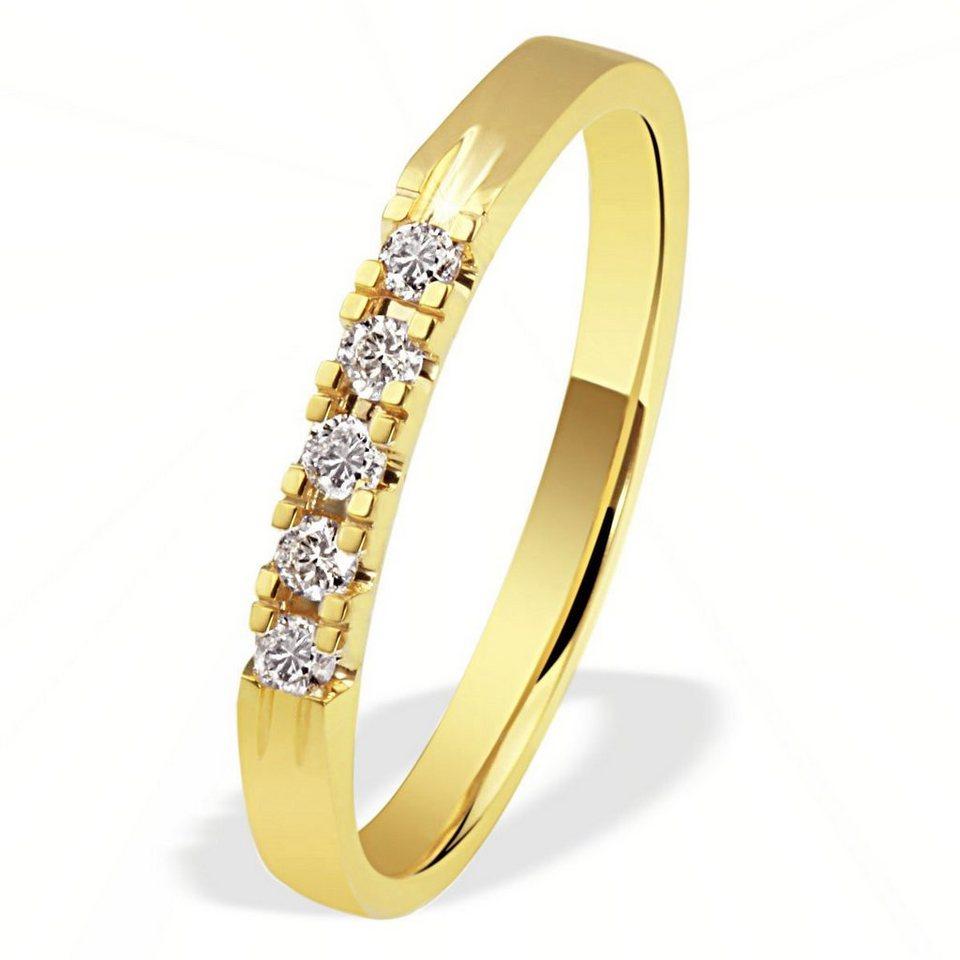 goldmaid Damenring Memoire 585/- Gelbgold 5 Brillanten 0,15 ct. P1/KL in goldfarben