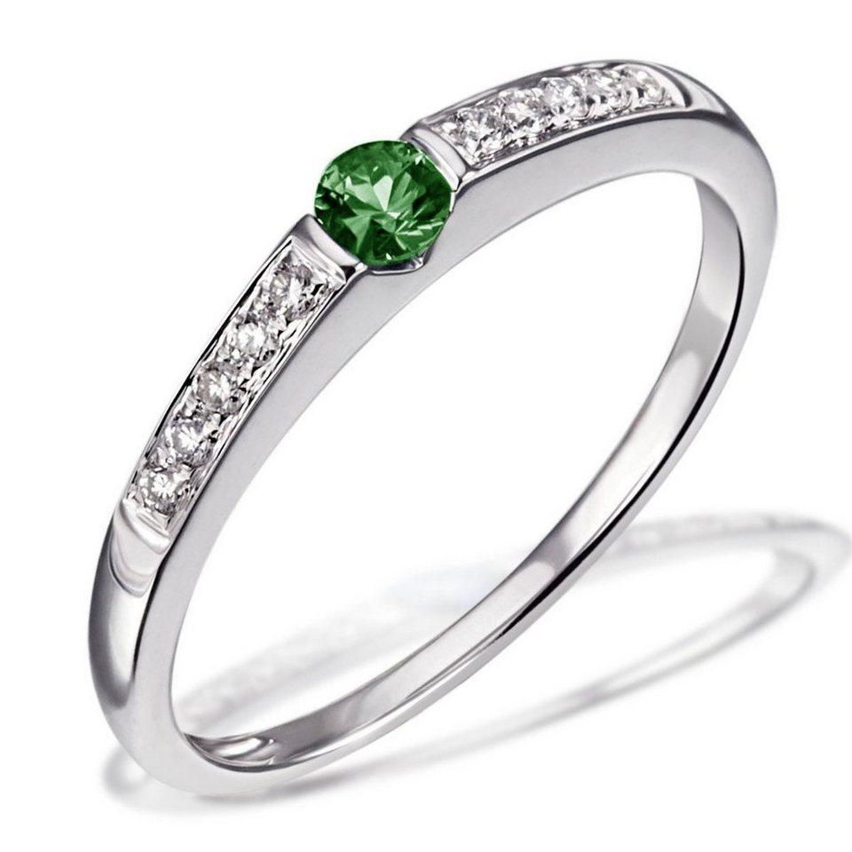 goldmaid Damenring Memoire 585/- Weißgold 1 grüner Smaragd 10 Brillanten in silberfarben