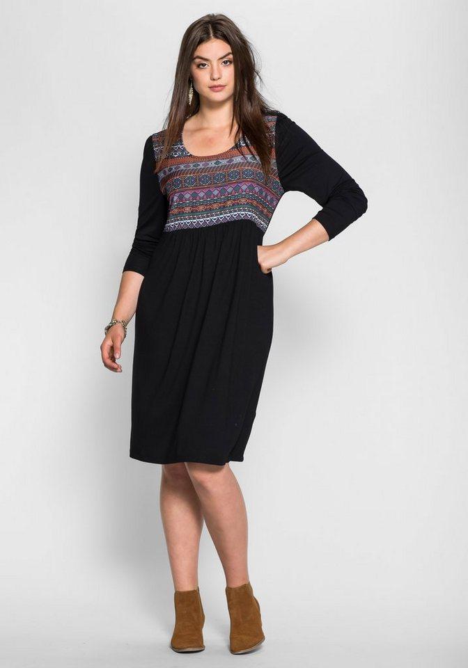 sheego Trend Jerseykleid mit Ethnodruck in schwarz bedruckt