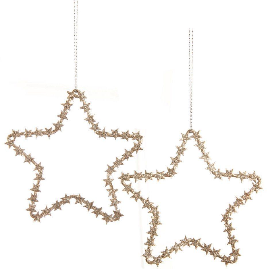 Sternanhänger mit Glitter (5-teilig) in goldfarben