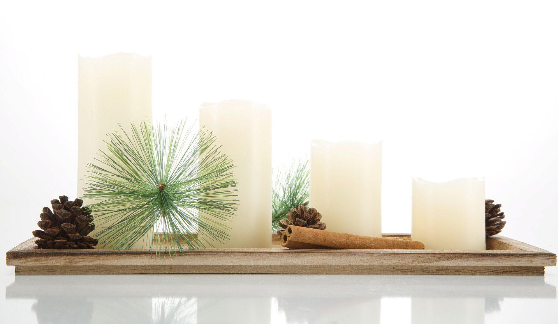 LED-Kerzen mit Holztablett, Set 6-teilig