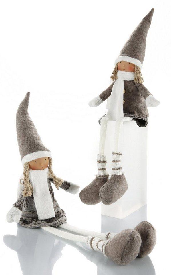 Kantenhocker, Set 2-teilig, »Winterkinder« in braun/beige/wollweiß