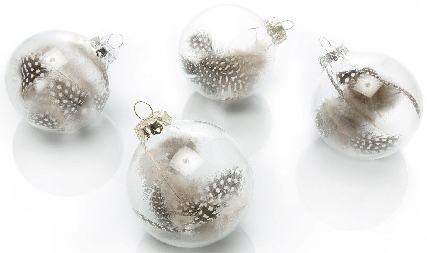 Thüringer Glasdesign TGS-Glaskugeln Transparent mit Vogelfeder (4-teilg)