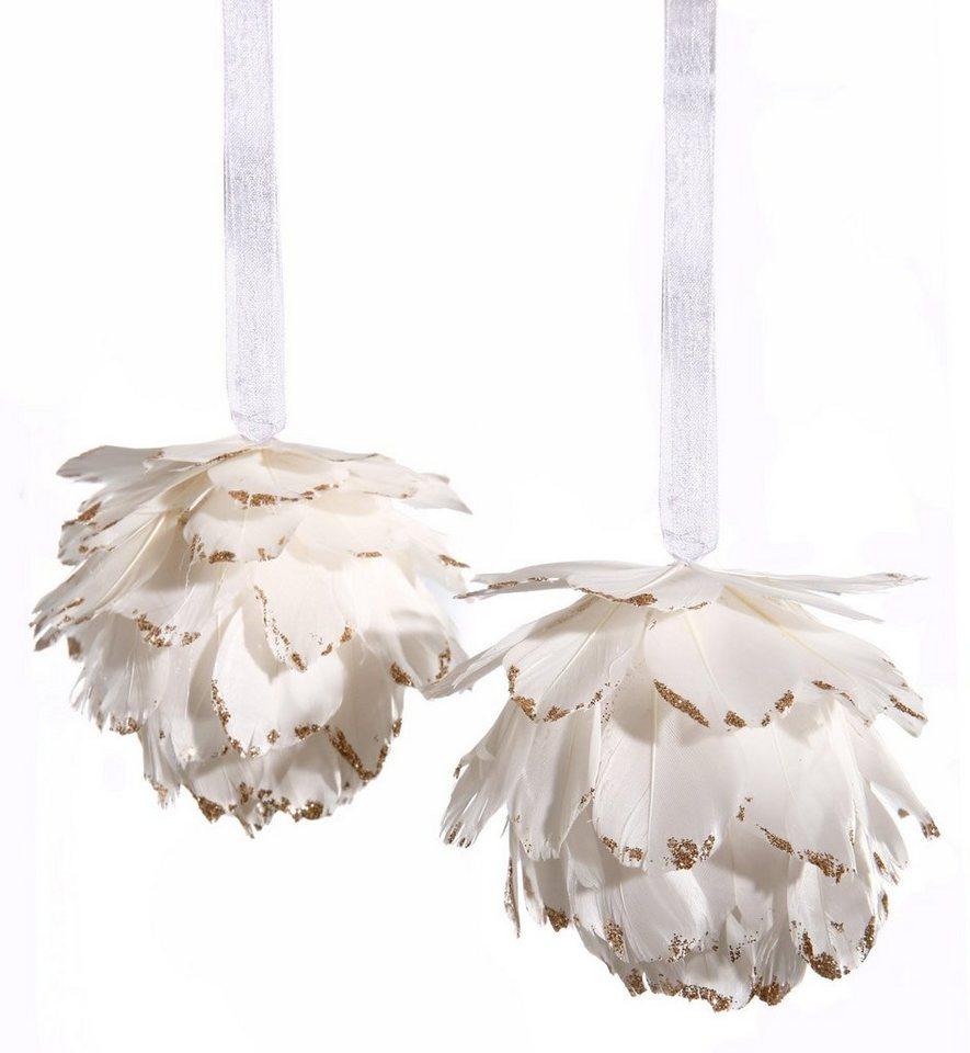 Federkugel mit Glitter (2-teilig) in weiß/champagnerfarben