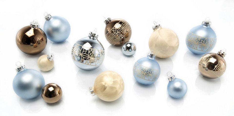 Thüringer Glasdesign TGS-Weihnachtskugeln, Made in Germany, (30-teilig.), »Sky« in champagner/trüffel/wedgewood blue