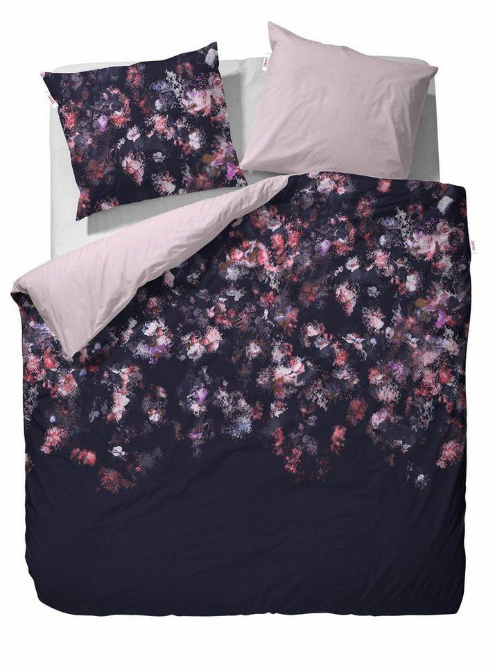 Wendebettwäsche, Esprit, »Miracle«, mit abstrakten Blumen in anthrazit-rosé