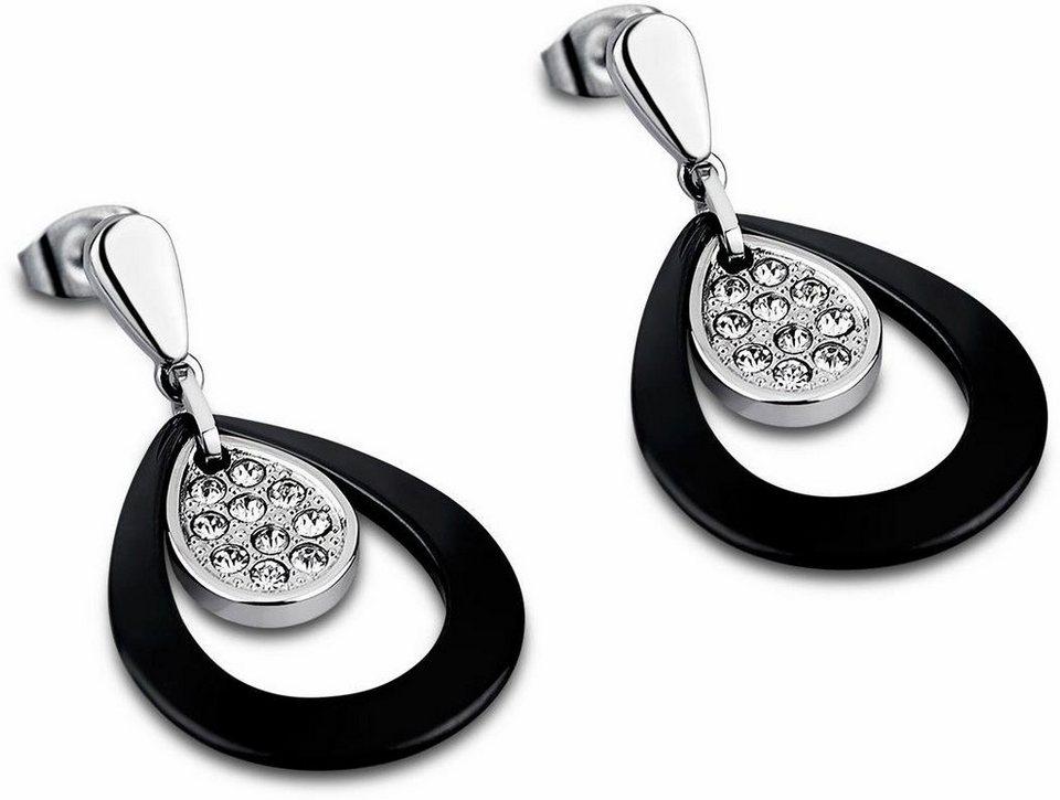 Lotus Style Paar Ohrstecker »Paar Ohrstecker, Ceramic, LS1706-4/2« mit Glassteinen in silberfarben-schwarz