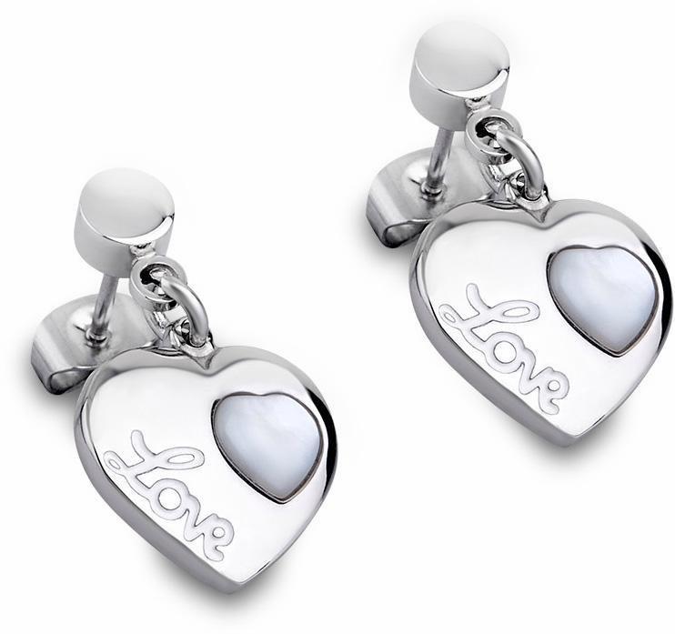 Lotus Style Paar Ohrstecker »Paar Ohrstecker, Woman´s Heart, LS1748-2/1« mit Perlmutteinlage in silberfarben