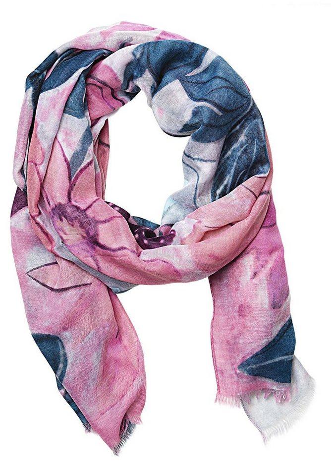 Cartoon Schal in Petrol/Pink - Blau