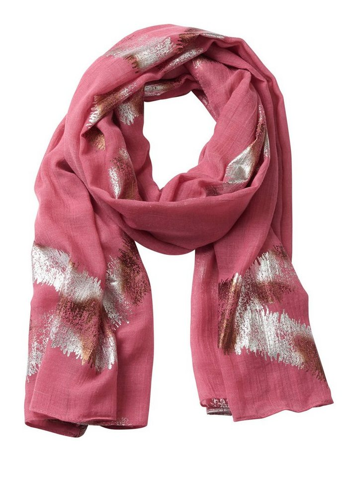Cartoon Schal in Pink/Silver - Rot