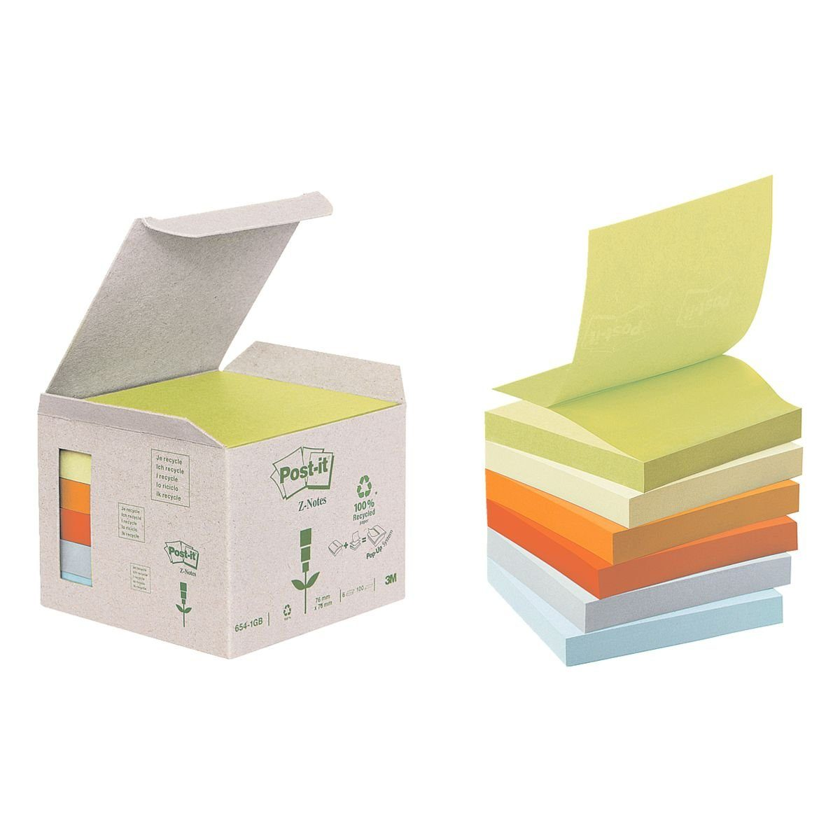 Post-it Notes (Recycle) Haftnotizblock 7,6 x 7,6 cm, 6 Stück »Recycling Z-Notes«