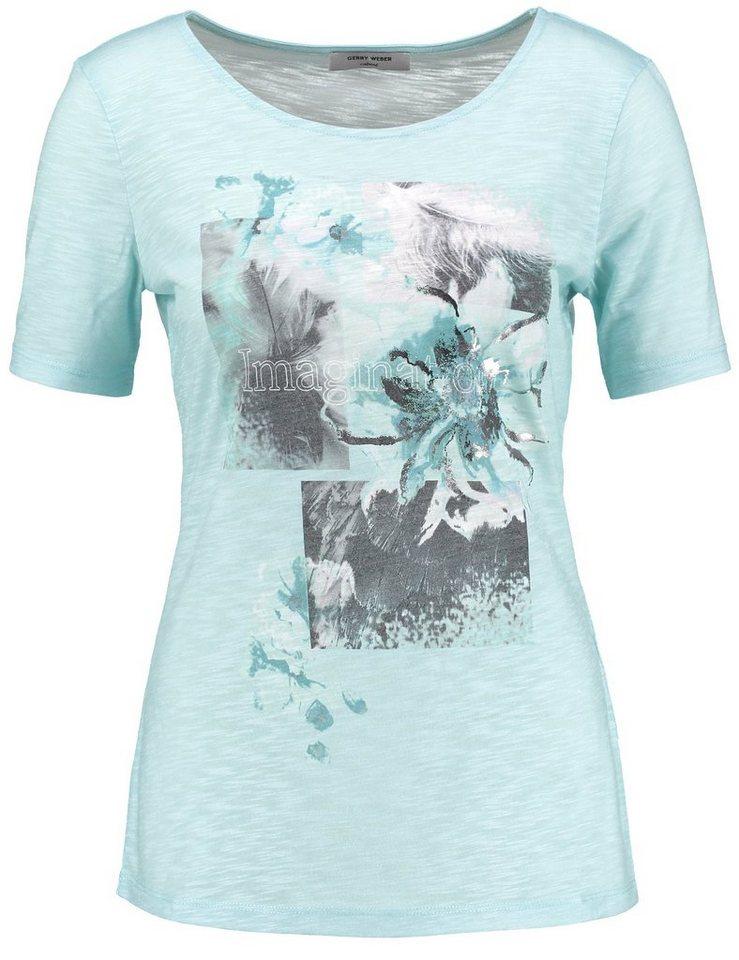 Gerry Weber T-Shirt 1/2 Arm »1/2 Arm Shirt mit platziertem Print« in Blau Druck