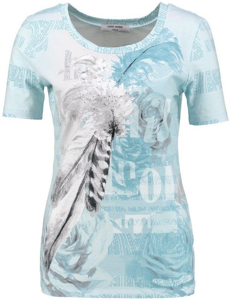 Gerry Weber T-Shirt 1/2 Arm »1/2 Arm Shirt mit modischem Print« in Ecru/Weiss/Blau Druc