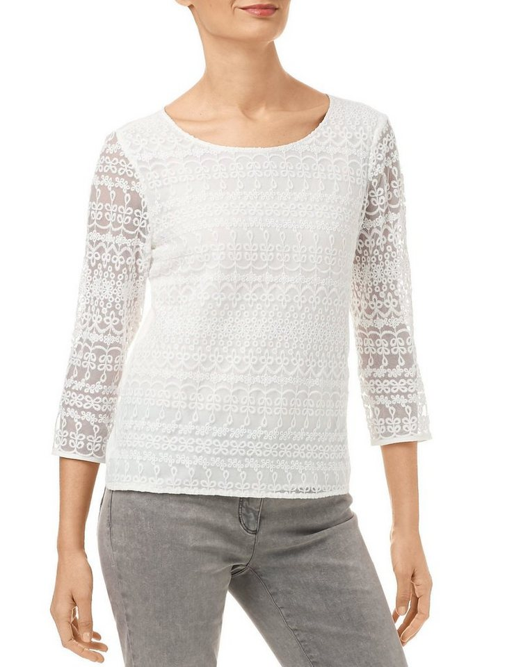 Gerry Weber Bluse Tunika »Romantisch gestylte 3/4 Arm Bluse« in Off-White
