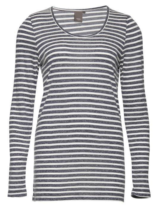 ICHI T-Shirt in Blau-Weiss